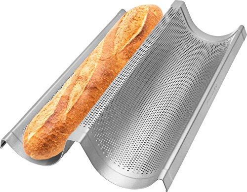 """Commercial Grade non Stick Perforated Double Baguette Loaf baking pan - 16"""" inch"""