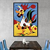 Famoso Joan Miro pintura de lienzo de acuarela abstracta carteles e impresiones cuadro de arte de pared para sala de estar decoración del hogar Cuadros 60x90 CM (sin marco)