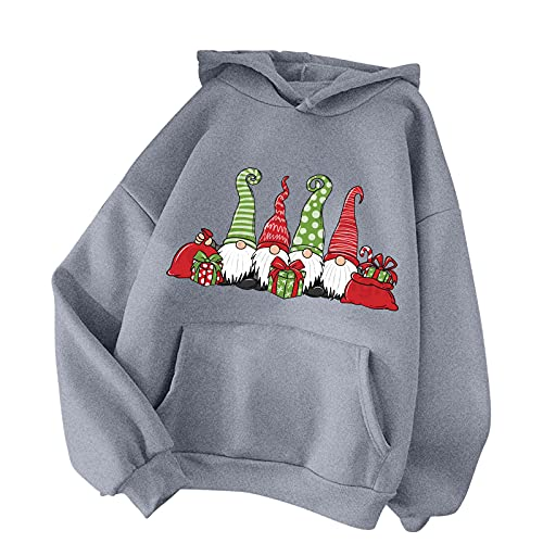 LODDD Women's Christmas Long Sleeve Hooded Sweater Casual Santa Claus Printed Loose Hoodies Pullover Tops