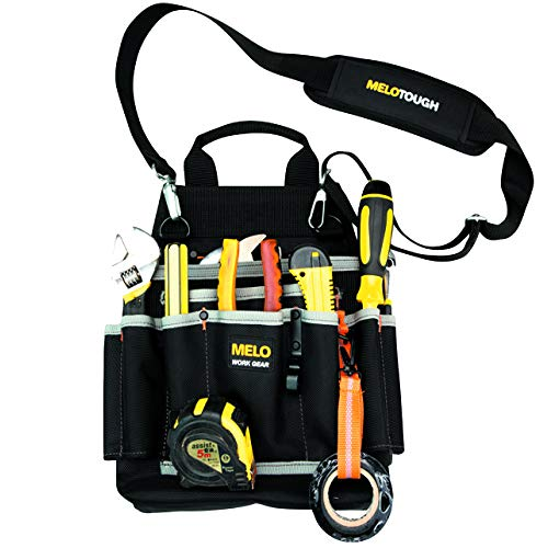 Melo Tough Professional Electric Tool Pouch Shoulder Tool Carrier with Multiple Pockets Tool Organizer for Technician/ Maintenance and Electrician#039s Tools