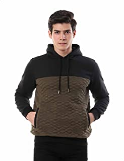 Andora Ribbed Trims Kangaroo-Pockets Two-Tone Hoodie for Men - Olive and Black, XXL