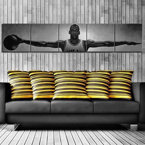 UIOLK Lienzo de Arte Famoso Profesional Baloncesto Estrella alas Baloncesto Estrella Lienzo Cartel Estilo Retro Pintura Decorativa hogar Cartel de Arte Retro