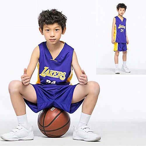 anking Conjunto Juvenil Deportivo para Niños - Lakers Kobe # 24 Niños Y Niñas Fans De Baloncesto, Tejido Elástico Ecológico: 100% Poliéster,B,3XS