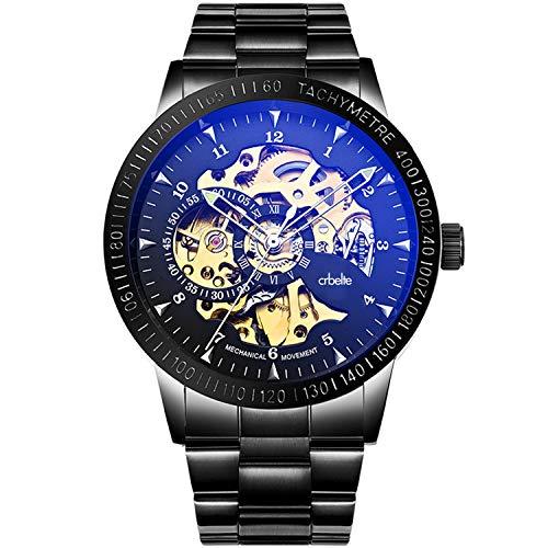 『[crbelte] 腕時計 メンズ 防水 ビジネス スケルトン 自動巻き 8ATM 日本製ムーブメント ステンレス 黒』のトップ画像