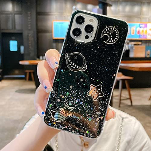Nadoli Universo Bling Custodia per Samsung Galaxy S21 Plus,Ragazze Donne Carino Bello Cristallino Trasparente Flessibile Morbido TPU Anti-Graffio Glitter Cover