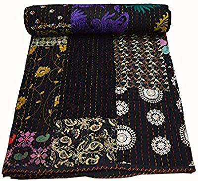 Red, Twin Size Yuvancrafts Indian Vintage Kantha Quilt Traditional Mandala Print Kantha Quilt Bedspreads Throw Blanket