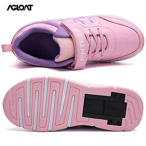 Zapatillas De Skate Hombre,Zapatillas De Skate Nino,Patines En Linea Mujer,Zapatos con Ruedas Zapatillas con Dos Ruedas para Niños Y Niña,Pink-41