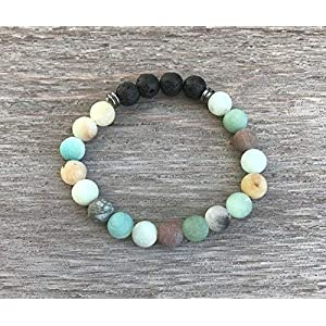 Amazonite and Lava Rock Aromatherapy Bracelet