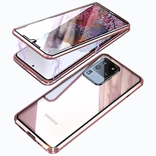 Handyhülle für Samsung Galaxy S20 Ultra Hülle,Magnetische Adsorptions 360° Full body Schutzhülle mit Vorne Hinten Panzerglas,Stoßfest Metall Bumper Magnet Handyhülle Hülle für Galaxy S20 Ultra,Roségold