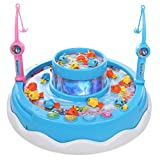 IQ Toys 22 Piece Lets Go Fishing Game with Rotating Fish, Lights, Music and Songs for Kids and...