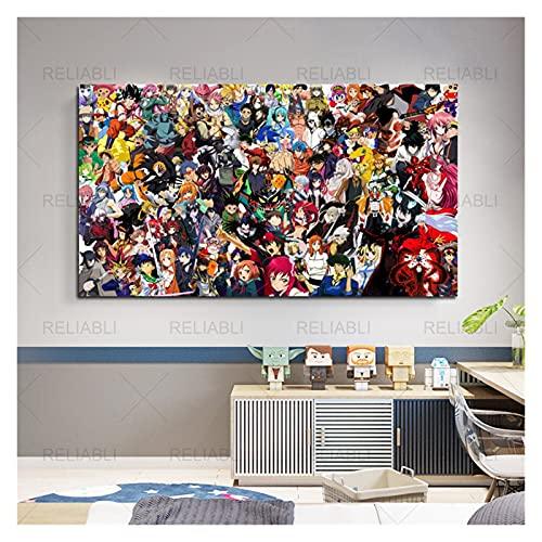 CCZWVH Japanse animatie cartoon film schilderij muurschildering anime wall art foto voor kinderen woonkamer decor 20×40…