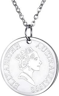 SINLEO Women Girls Vintage Stainless Steel Round Coin Pendant Necklace Engraved Elegant Queen