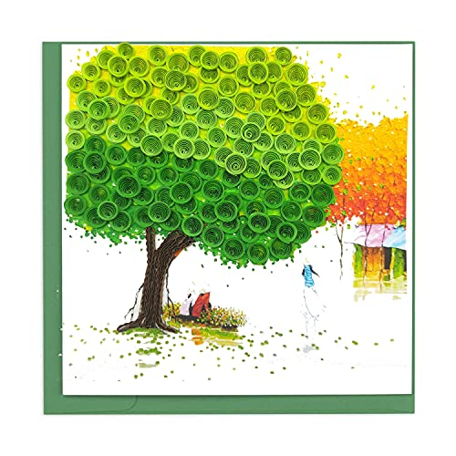 Quilling Card 3D Colorful Cute Four Seasons Card Dedicated Paper Handmade Art - Design Greeting Card for Christmas Birthday Anniversary Mother Thank You - Design Gift for Friend Love Mom with Envelop (Green)