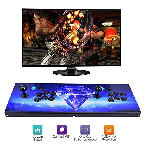 ZQYR GAME# 3D Multiplayer Joystick and Buttons Arcade Console 2 Joueurs Multiplayer Home Arcade Console 2350 Jeux Tout en 1 Double Stick Nouveau Design Boutons Power HDMI, Model: BZ-7596