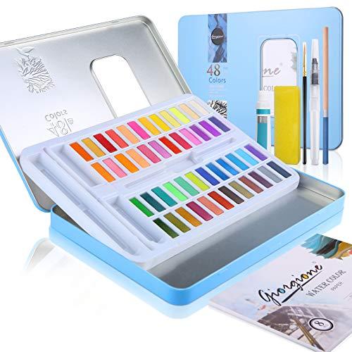 48 Colores Caja de acuarelas 62 piezas Profesionales Juego de pintura acrílica incluye colores pintura, Pinceles,papeles de acuarela, esponja,pintura blanca para Artistas Principiantes y Consagrados