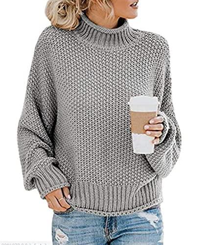 Damska jesień z długim rękawem Turtleneck Casual Loose Chunky Dzianiny Sweter Sweter Bluzki (Color : Gray, Size : Medium)