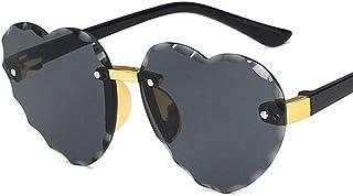 SUNKAK - Niño Lindo del Marco del Corazón Sin Montura De Las Gafas De Sol For Niños Los Niños De Rosa Gris Lente Roja Moda Niño Niña Protección UV400 Eyewear (Lenses Color : C2 Gray)