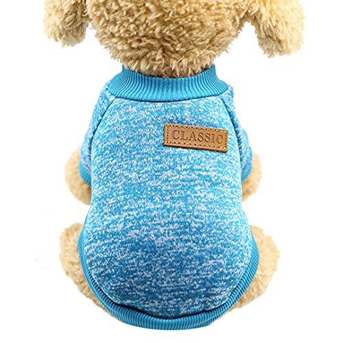 ZQXIZM Pet Dog Classic Knitwear Sweater Fleece Dog Coat Soft Thickening Pup Dogs Shirt Spring Cat Clothes Puppy Sweater for Dogs (Lake Blue, X-Small)