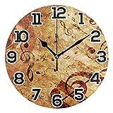 Reloj de pared Retro Música Nota Piano Rosa Marrón Reloj de acrílico redondo Negro Números grandes Reloj silencioso sin tictac Pintura decorativa Reloj con pilas para la biblioteca del hotel de la esc