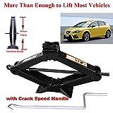 2 Tonne Rustproof Car Scissor Floor Lift Car Jacks with Speed Chromed Crank Handle for...
