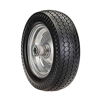 SLT 4.10/3.50-4LP Flat Free Wheelbarrow Tire on Wheel 2.2  Offset Hub 3/4  Ball Bearings Durable Replacement Tire Hand Truck/All Purpose Utility Tire on Wheel