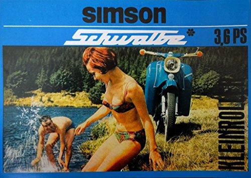 Schönes Kult Prospekt SIMSON Schwalbe 3,6 PS Modell KR 51 - DDR STIL 1966 VEB SUHL