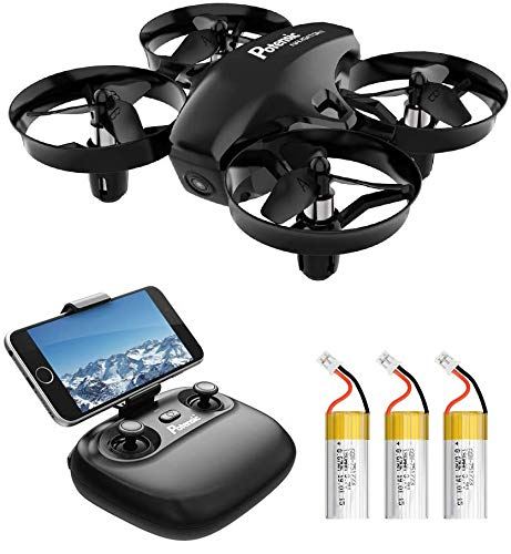 Potensic A20W Mini Drone with Camera, 720P RC FPV Drone for Kids and Beginners, Easy to Fly Portable Quadcopter with Altitude Hold, Headless Mode, Route Settiing, Gravity Sensor, 3 Batteries