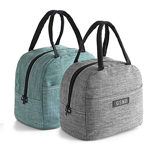 HIPRETTYUS 2PCS insulated Tote Lunch Bags, Packit Freezable lunch bag, Leakproof Lunch Box For Women, Men, Teen and Kids(Gray, Green)