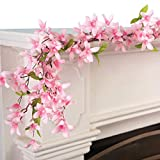 Collections Etc Spring Floral Forsythia Garland Pink