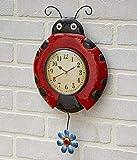 The Lakeside Collection Metal Ladybug Pendulum Wall Mounted Clock - Indoor Gardening Accent