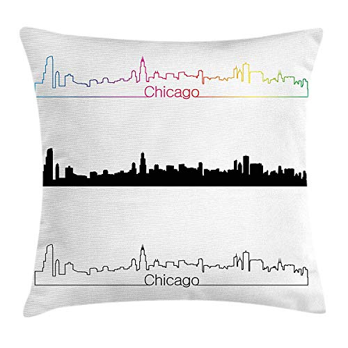 Chicago Skyline Throw Pillow Cushion Cover, Metropolis City Panorama in Linear Rainbow Black Tones Architecture Modern, Decorative Square Accent Pillow Case, 18 X 18 inches, Multicolor