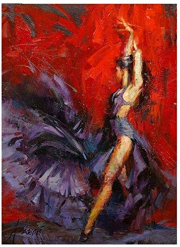 DFGFGF 5D Pictures for Embroidery Woman Flamenco Dancer Diamond Painting Full Round Cross Stitch Kits Diamond Mosaic Spanish Art- Unframed 40x50cm