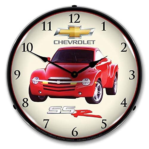 "Truck SSR Red Convertible Pickup Chevrolet Wall Clock 14"" Lighted Backlit Chevy GM Made USA Warranty"