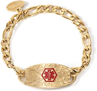 Figaro Chain Gold Plated Medical Alert Bracelets with Medical ID Tag for Women Girls Free Engraving