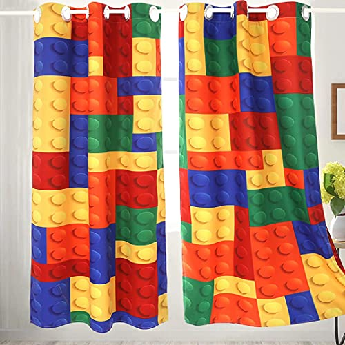Lego 2 Pcs Window Curtains Panels,Colorful Funny Nursery Kids Curtains, Window Treatments Panel Set for Living Room Bedroom Decor