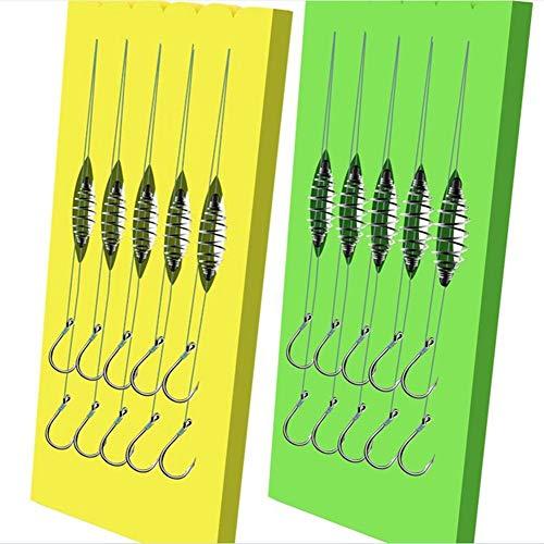 N\A Fishing Hooks Bait Feeder Fishing Accessories Double Hook Fishing PE Line Rigs Swivel carp hooks Cage Feeder String Hook 5 Pairs (Color : Dark Grey, Model Number : 9)
