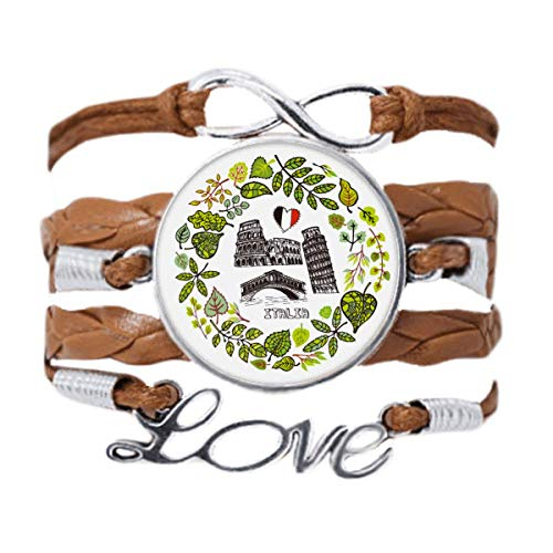 DIYthinker Colosseum Pisa Rialto Bridge Italy Bracelet Love Chain Rope Ornament Wristband Gift