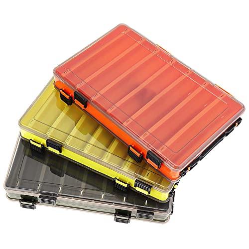 Cajas de aparejos de pesca de doble cara con 14 compartimentos, caja de señuelos, color verde