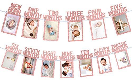Whaline Foto Banner 1st Birthday Bambino per Il Neonato di 12 Mesi, mensile Milestone Fotografia Bunting Garland, Primo Compleanno Decorazione di Celebrazione ()