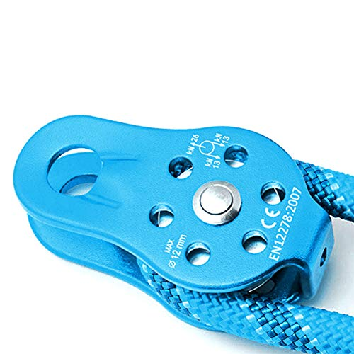 Aiggend Climbing Pulley, 26KN Fixed Single Pulley Micro Pulley Fixed Side Trolley for Climbing Hitch Tending