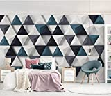 Blovsmile Papel Triangular geométrico 3d papel pintado de foto murales dormitorio salón sofá TV Fondo mural papel de pared A-350X280cm(WxH)