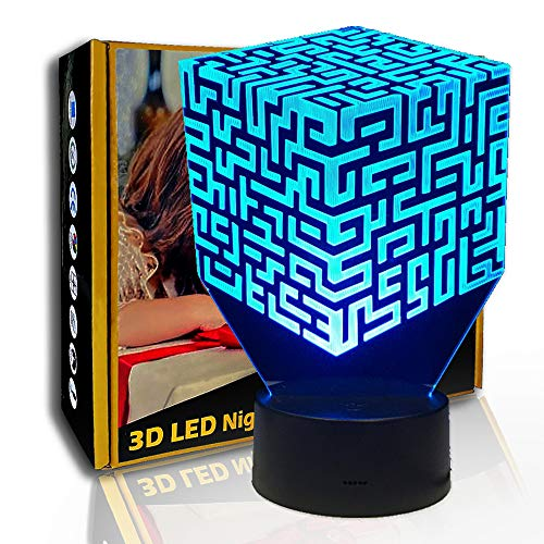 3D Luz nocturna Maze Rubik'S Cube, Lámpara de ilusión LED, Lámpara de colores, C  Touch Crack Blanco (7 colores), Lámpara de dormitorio, Regalo de fiesta