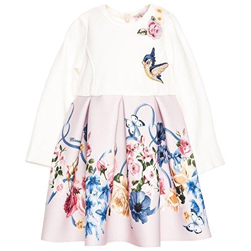 MONNALISA BEBE' Kleid mit Schleifen- und Blumenaufdruck, Weiß 9 Monate