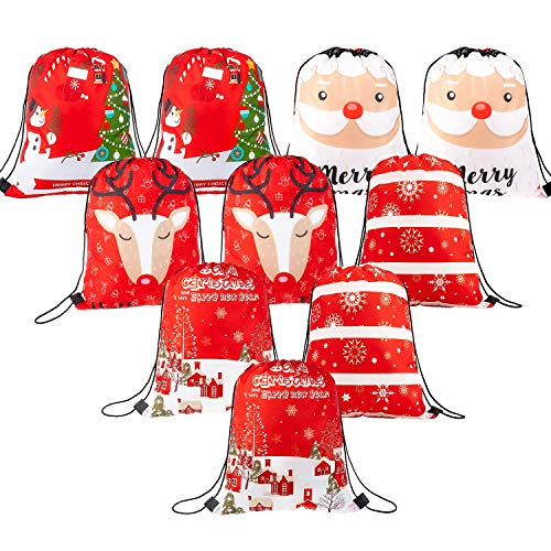 Whaline 10 Pieces Christmas Drawstring Bag Large Santa Sack Gift Backpack Treat Goody Bag for Christmas Party Decoration