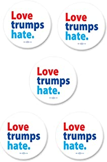 Love Trumps Hate Classic Slogan Set of Five Buttons