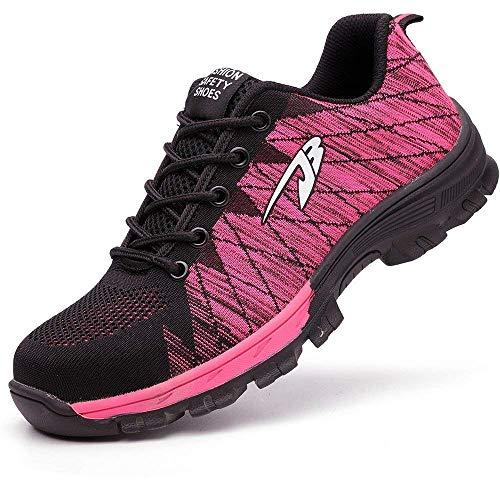 [ブルーポメロ] 安全靴 あんぜん靴 作業靴 スニーカー メンズ レディース 鋼先芯 KEVLARミッドソール 鋼製ミッドソール 軽量 通気 耐摩耗 衝撃吸収 男女兼用 タイプB-ピンク 24.5