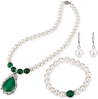 LGSY White Shell Pearls Necklace Bracelet Earrings Jewelry Set for Women, Teardrop Deasign Green Jade Jewelry Set for Fash...