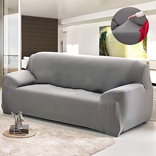 House of Quirk Universal Sofa Cover Big Elasticity Cover for Couch Flexible Stretch Sofa Slipcover (Grey, Triple Seater)(185-230 cm)