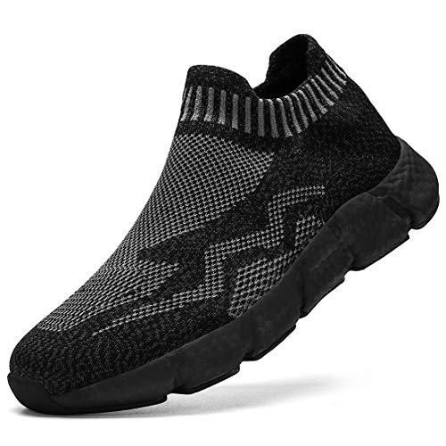 DaoLxi Womens Walking Slip on Shoes Lightweight Running Tennis Gym Athletic Fashion Sneakers Non Slip Athletic Platform Workout Casual Working Sport Fitness Jogging Shoes Fullblack Size 10