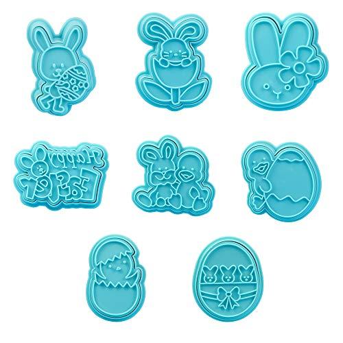 Stampi Biscotti Pasquali, 8 Pezzi Pasqua Formine Biscotti, Inox Modello Pasqua, Ideale e Biscotti Pasquali, Uova di Pasqua, Coniglio, Faccia da Coniglio, Pulcino (Blu)